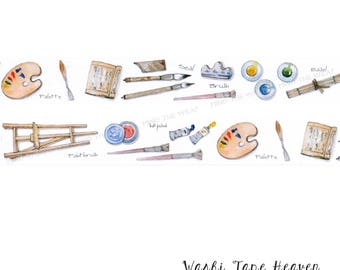 """NEW """"Painter's Tools"""" Washi Tape - 30mm x 7m - Artists Workshop - Planners Decoration Card-making Collage Supply"""