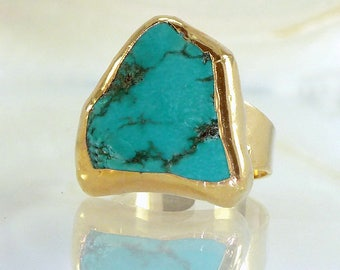 December Birthstone, Turquoise Ring, Turquoise Jewelry,Gemstone Ring,  Turquoise Gold Ring, Statement Ring, Raw Stone Ring.