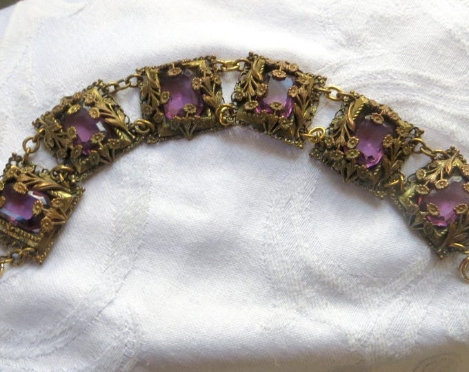 Art Nouveau Czech Bracelet, Floral Filigree, Emerald Cut Amethyst Glass Stones