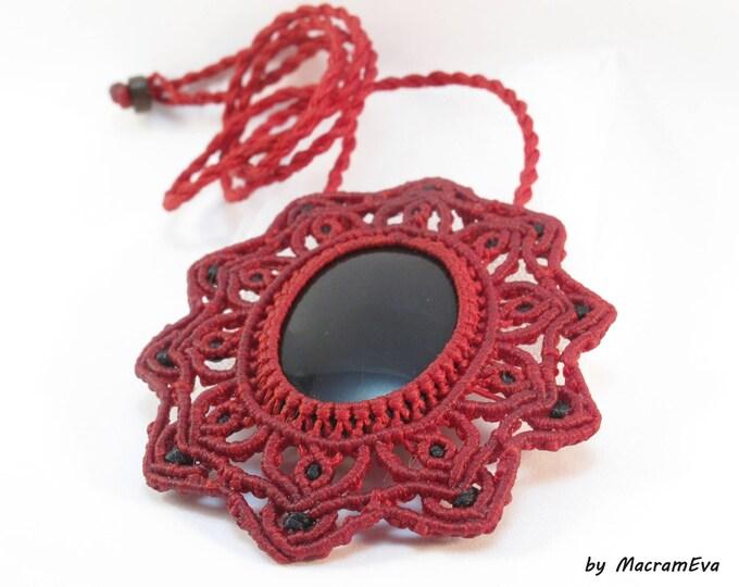 Black Onyx healing stone macrame pendant