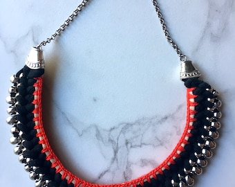 RECYCLED Cotton Necklace Crocheted with silver beads - Black, Beige and Red