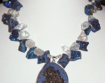 Blue Drusy Necklace