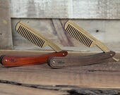Wood Straight Razor Beard Comb - Handmade and Personalized Folding Wood Beard & Mustache Grooming Comb with Hardwood Scales and Bamboo