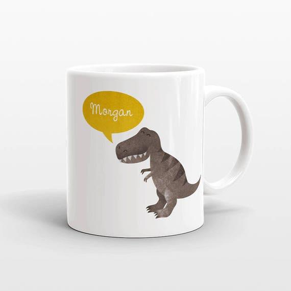 Custom Name Mug, T-Rex Mug, Dinosaur Mug, Tyrannosaurus Rex Personalized Mug, Unique Coffee Mug, Office Mug, Birthday Gift, Cute Animal Mug
