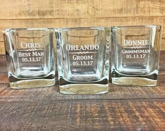 Groomsmen Gift, 14 Custom Whiskey Glasses, Personalized Whiskey Glass, Engraved Whiskey Glass, Monogram Whiskey Glass, Custom Glasses