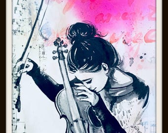 Giclee Print from Original Watercolor Painting,  Music Illustration by Lana Moes, Girl and Violin, Inspirational Art, Performing Art