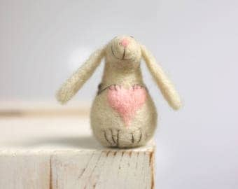 Needle Felted Rabbit - Felted White Rabbit With A Pink Heart - Bunny Elf - Art Doll Miniature - Blush Pink - Needle Felt Animal