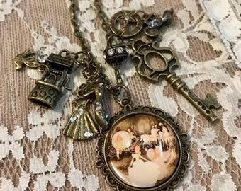 Vintage Style,  Charm Necklace , Featuring 'Cinderella'.  Antique Bronze Tone.