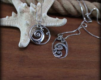 Sterling silver ocean wave necklace,  ocean theme, sea life jewelry, surfer culture