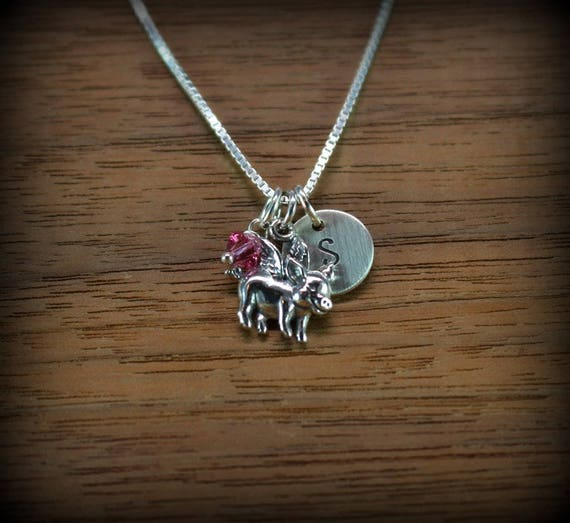 Flying Pig Necklace, Initial Necklace, Animal Charms, Sterling silver flying pig necklace, birthstone jewelry, personalized