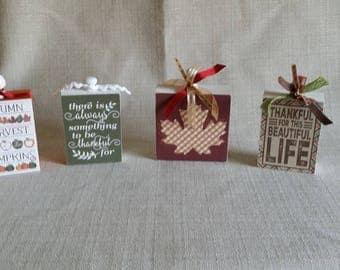 Wood Blocks - set of 4, home decor, wood sign, Fall Decor, Autumn Decor, Thankful, Beautiful Life, ready to ship