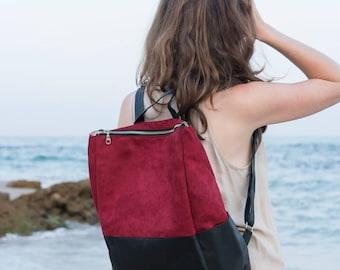 Travel Rucksack, Vegan Leather Bag, Red and Black Travel Backpack, Back To School Bag, Laptop Backpack, Hipster Backpack, Rucksack Satchel