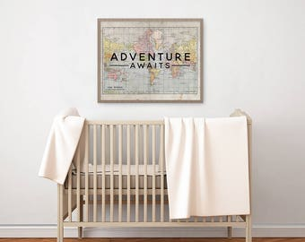 Nursery PRINTABLE Wall Art - Vintage World Map - Travel Art - Adventure Awaits - Baby Boy Nursery - Nursery Decor - Shower Gift - SKU:6427