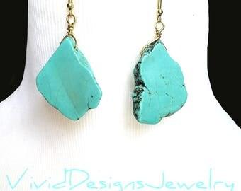 Turquoise Statement Earrings - Turquoise Dangle Statement Earrings - Dangle Earrings - Blue Earrings - Turquoise Earrings Dangle - Jewelry