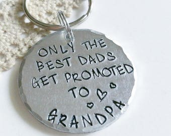 Only The Best Dads Get Promoted To Grandps keyring, Baby anouncement gift, Gift for grandpa to be, Fathers Day  gift, Grandpa gift,