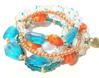 Orange Turqoise Beaded Bracelet, Stackable, Stretchy, Summer, Beach, Womens Custom Handmade Beaded Jewelry