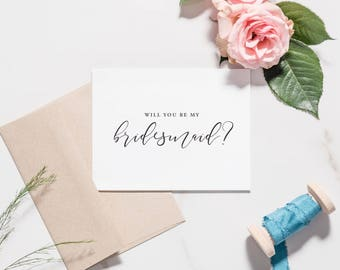 Bridesmaid Card Set, Will You Be My Bridesmaid, Calligraphy Script, Maid of Honor Proposal, Bridesman, BLACK TEXT | Catalina, Flowing Script