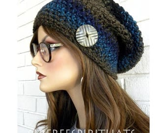 Slouchy Beanie Hat, Chunky Winter Hat, Knit Hat, Handmade, Women's Slouchy Hat, Beanie, Hat with Button, Boho Chic,
