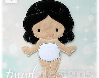 Lady Marguerite Felt Paper Doll Toy Digital Design File - 5x7