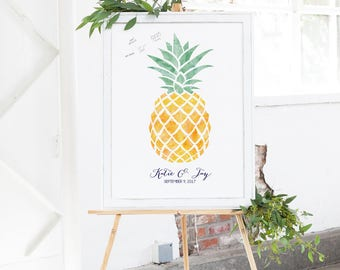Pineapple Wedding Guest Book Alternative - Tropical Wedding Guest Book - Pineapple Wedding - Watercolor Wedding Guestbook Sign In