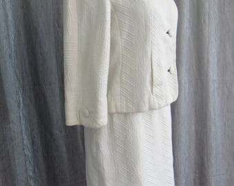 Spring & Summer Whites!  Don Loper 1960s Suit with Smart Tailored Details