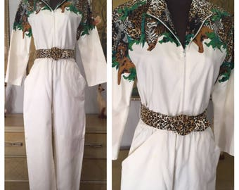 1980s Novelty Print Jumpsuit by Decisions -- Jungle Print Design with Leopard Print Belt!