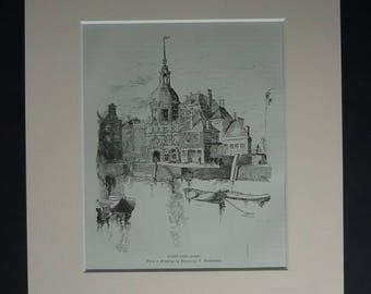1880s Antique Dordrecht Print, Dutch Gift, Available Framed, Holland Art Netherlands Picture Dordt Harbor Dort Illustration Groothoofdspoort
