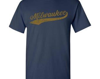 Milwaukee City Script T-Shirt - Navy