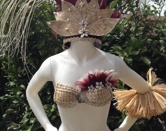Cook Islands & Tahitian fara costume set. Perfect for girls of all ages. Soloist, luau, group costumes.