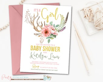 Antler Baby Shower Invitation, Antler Invitation, Rustic Baby Shower Invitation, Deer Baby Shower Invitation, Boho Baby Shower