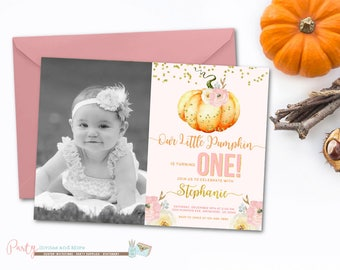 Pumpkin Invitation, Pumpkin Birthday Invitation, Pumpkin 1st Birthday Invitation, 1st Birthday Invitation, Pumpkin Patch Birthday Invitation