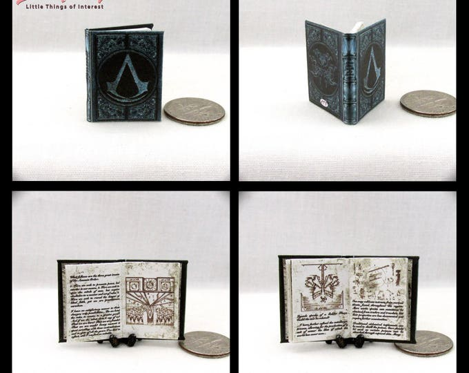 Miniature Book -- ASSASSIN'S CREED CODEX Dollhouse Miniature Book 1:12 Scale Illustrated Altair's Codex 1 Inch Scale Book Brotherhood