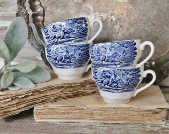 Antique White Ironstone Cups Flow Blue LIBERTY ENGLAND PANSY Footed Tea Coffee Cups  Farmhouse Decor Blue Transferware