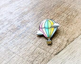 Hot Air Balloon Acrylic Fashion Pin, Cute Pin, Cute Badge, Lapel Pin, Hat Pin, Small Gift