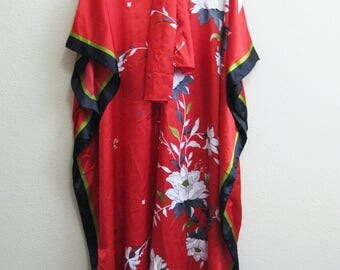 Asian Inspired Caftan Red  Plus Size White Flowers XL Gown
