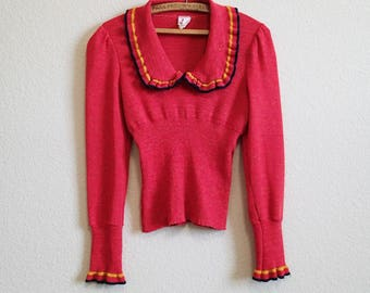Red Cropped Sweater Medium Large - Fitted Waist Long Cuffs and Flounce