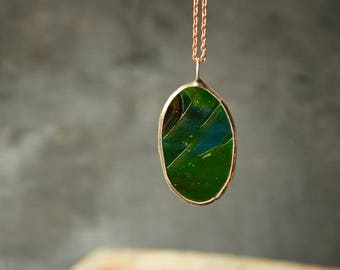 oval pendant, stained glass necklace, colorful jewelry, hippie jewelry, gift for her, green, blue