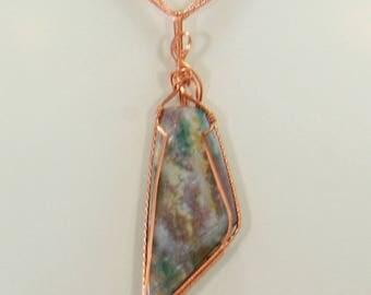 Fancy Bloodstone Jasper Wire Wrap Pendant Copper Wire Wrap Jewelry Handmade, Wire Wrap Necklace, Wire Wrap Stone, Copper Pendant Necklace