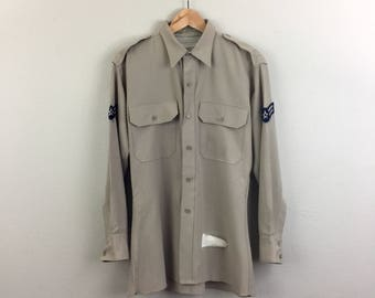 Vintage 50s 60s Khaki Military AIR FORCE Shirt Mens Lauterstein's M