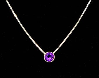 "Floating gemstone necklace, Amethyst in bezel set  sterling on 18"" Sterling box chain, Free Shipping, USA Hand Made"
