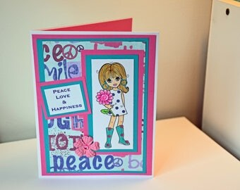 Handmade Flower Power Emma Card - Peace Love Happiness -Stamped Girl Holding Flower. Card is ready to ship