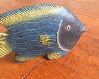 Hand Carved Wood Fish, Hand Pianted Fish, Fish Decor, Blue Carved Fish, Tabletop Fish, Pianted Fish, Carved Wood, Fish Sculpture