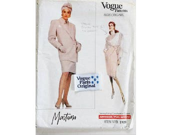 """UNCUT with Label Vogue Paris Original #2129 Claude Montana Tailored Suit High Waisted Asymmetrical Skirt Sewing Pattern Size Bust 36"""" UK 14"""