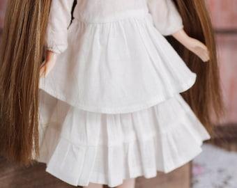 Blythe/Momoko - Vintage Tiered Skirt - White Color