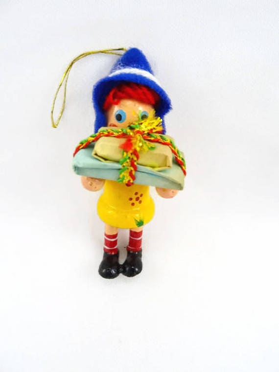 Vintage Christmas Ornament Germany Hand Painted Girl with Felt Hat and Presents