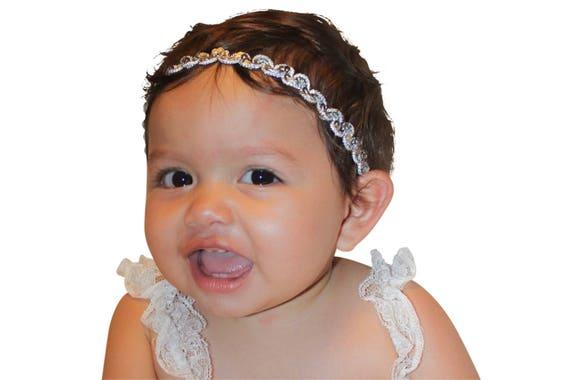 First Newborn Headband, Silver Headband, Headpiece Wedding, Baby Girls Headband, Baby Girls, Baby Headband, Infant Headbands, Newborn