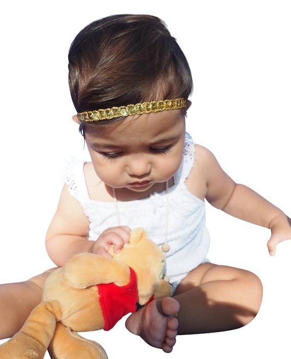 Infant Headbands, First Baby Headband, Golden Headband, Gold Baby Headband, Baby Headband, Gold Headband, Baptism Headband, Headband Baby