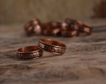 Flower Ring - Copper Band Ring - vintage copper ring - floral ring - copper band - flower band ring - copper flower rings - copper jewelry