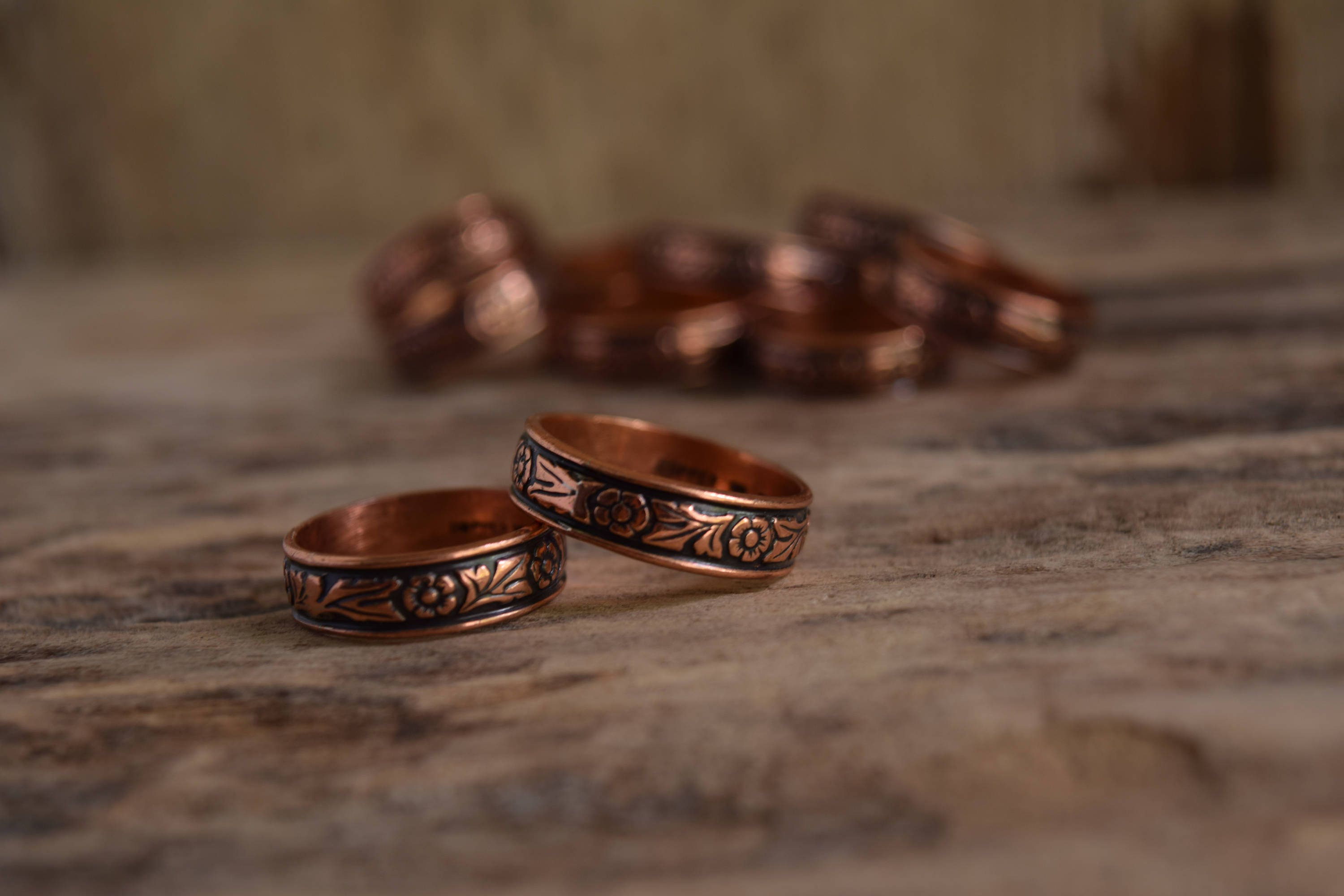 Flower Ring Copper Band Ring vintage copper ring floral