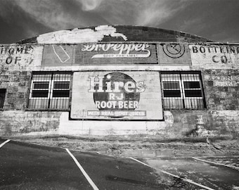 Black & White Photography, San Diego California, Dr Pepper Decor, Hand Painted Wall Mural, Hires RJ Root Beer, Black and White Picture